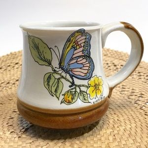 1979 Vintage Boho Butterfly Floral Coffee Mug Cup